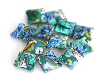 Blue Greens Polymer Clay Pillow Beads, Dozen Sea Garden- Made to Order