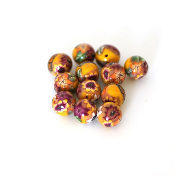 Sunshine Beads, Round Yellow Polymer Clay Beads, 12 Pieces - Made to Order