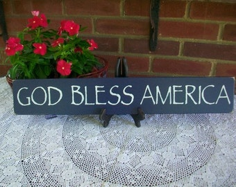 God Bless America Painted Wood Sign Wall Decor