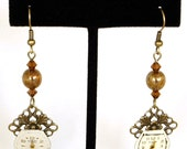 Steampunk Antiqued Brass Ornate Earrings with Vintage Watch Faces and Burgundy Swarovski Crystal Beads by Velvet Mechanism