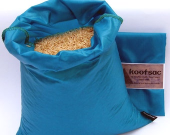 Reusable food bag, food pouch, bulk bin bag, produce bag, rice bag, grain bag, flour bag, turquoise ripstop nylon