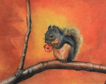 Little Red Squirrel:  A Fine Art Painting of a Red Squirrel in a tree.