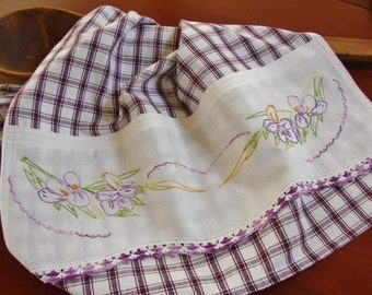 Recycled Vintage Pillowcase to Upcycled Tea Towel - Purple Iris - Homespun Home Decor