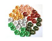 36 Buttons, antique vintage rare buttons, set of 6 colors, flowers, 17mm