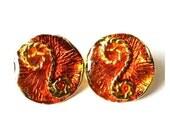 2 Vintage metal buttons, gold color with orange enamel beautiful ornament, 22mm