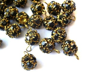 2 Vintage Swarovski dangling BEADS 8mm ball shape black crystals in brass setting