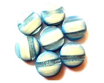 5 Vintage buttons unique blue shades 26mm