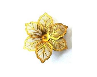 20 Flower beads, CREATING 10 FLOWERS gold color metal. vintage, 40mm