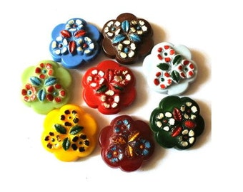 Antique vintage buttons, set of 8 plastic buttons flower shape, vintage rare, 22mm