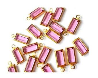 6 Vintage beads Swarovski baguette  pink crystal channel dangling beads crafts supplies