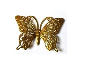 6 butterfly shape vintage metal findings 36mmx26mm