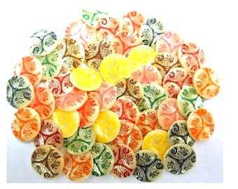 48 Vintage buttons, 8 colors on white base 15mm, suitable for button jewelry, sewing, crafts, clothing, scrapbooking