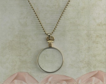 SALE....Brass or Gold Colored Optical Lens Necklace.. make your won.. just add a photo
