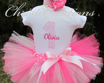 Baby Girl 1st Birthday Outfit - Cake Smash Outfit Girl - First Birthday Tutu Outfit - Pink Tutu