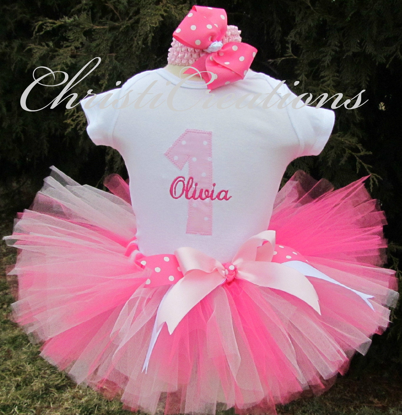 Birthday Party Outfit: Baby Girl Pink Tutu First Birthay Tutu Outfit By