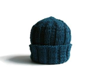 Knit Hat Blue in Pure Wool - Beanie  - Man - Woman