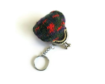 Multicolor Wool Tiny Keychain Pouch Coin Purse Hand Knit Kiss Lock Cute Key Chain, Gifts For Her Under 15, Mini Womens Keychain, Clasp