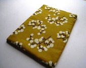 iPad Mini Case, Cover, Bag  - Blooms on Mustard - Padded and Zipper Closure