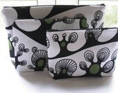Trees - Three piece Zippered Pouch Set for Travel, Cords, Make up bag set 3 Pieces