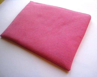 """Gingham in Pink and White - Macbook 13"""" Air or Macbook 13 Inch Pro - Laptop Case - Laptop Sleeve - Cover - Bag - Padded and Zipper Closure"""