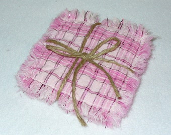 Rag Quilted Coasters Pink Plaid Striped Primitive Homespun set of 4 RQQ
