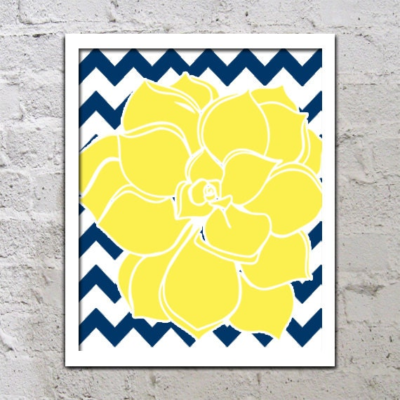Blue And Yellow Bathroom Decor: Items Similar To Yellow Navy Blue Wall Art, CANVAS Or