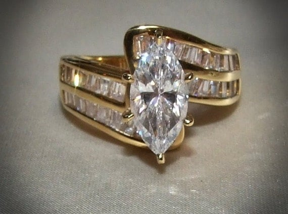 Vintage Marquise And Double Channel Set Rows Of Baguettes