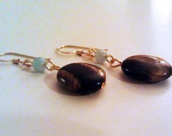 Tigereye and Angelite Earrings