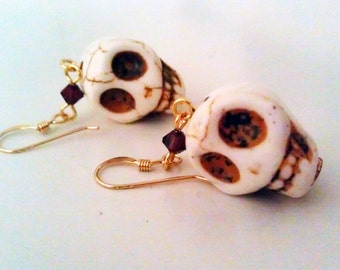White Howlite Skull and Swarovski Crystal Earrings