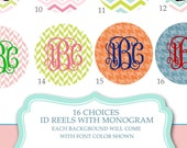 Personalized ID reel with MYLAR covering......Add a Monogram, patterns