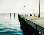 "Ocean photography / coastal sea print / dark teal cobalt indigo / wooden boardwalk pier / nautical decor photography print  ""Quiet Bay"""