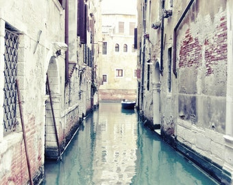 Venice Photograph water reflection european travel boat photo Italy wall art pastel pale jade mint green  'Acqua di Venezia'