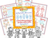 Set Three - Embroidery Patterns for 5 International Dolls - Instant Download - digital patterns for hand embroidery