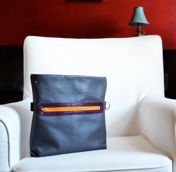Leather Foldover Bag - The Abby Satchel in Grey