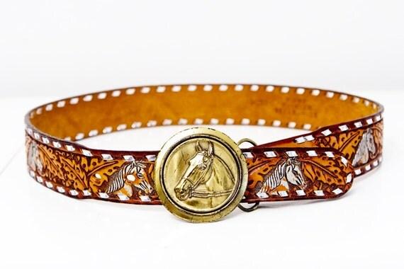 Vintage Leather Horse Belt