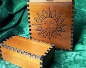 5 1/4 x 3 1/2 x 1 7/8 Sun & Moon Cedar Tall Tarot Case