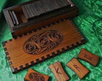 Celtic Oval Cedar Elder Futhark Rune Set