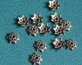 Bulk 500 pcs of Antiqued Silver flower beadcap 9mm