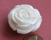 1 pcs of  Acrylic flower bead 29mm-  White color