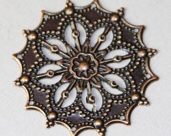 10 pcs of antique copper filigree  focal 34mm
