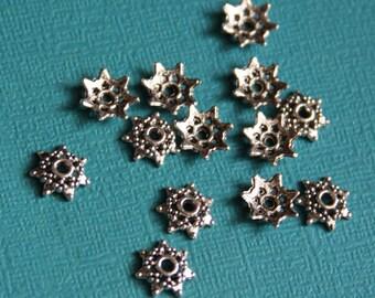 50 pcs of Antiqued Silver flower beadcap 9mm