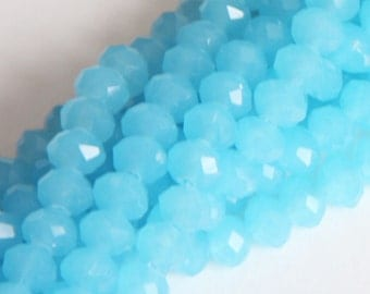 16 inch Strand of Sky Blue Glass faceted rondelle beads 4x6mm