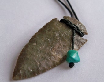 Arrowhead and Turquoise Necklace, Handknapped Flint