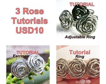 WIRE JEWELRY TUTORIAL Package - 3 Rose's Tutorials for USD10