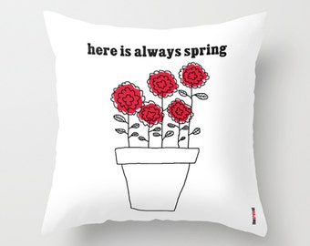 Pillow Cover, Decorative Red Flowers - Throw Pillow Cover,  Romantic bedding, Spring Cushion Cover , Pillow Case 20x20, Christmas gift