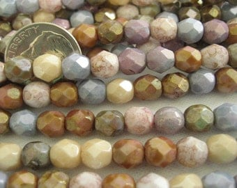 100 Opaque Mixed Luster Czech Fire Polished Beads 6mm