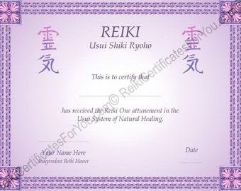 Reiki certification etsy for Reiki level 1 certificate template