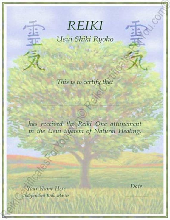 Customized reiki certificate templates tree 2 for Reiki level 1 certificate template