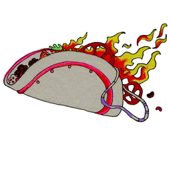 Items Similar To Taco, Southwestern, Drawings Of Food