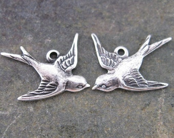 New - Sparrow or Swallow Bird Charms Jewelry Findings Old World Silver 668 - 6 pieces